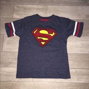 DC Comics Superman Striped Sleeve Varsity T-Shirt